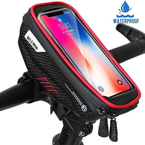 """Faneam Handytasche Fahrrad Wasserdicht Fahrrad Lenkertasche Handy mit Touch-Screen Oberrohrtasche Fahrrad Handyhalterung für iPhoneXS MAX/XR/X/8/7/Samsung S9/S8 bis zu 6,5\"""" Smartphone, Rot"""