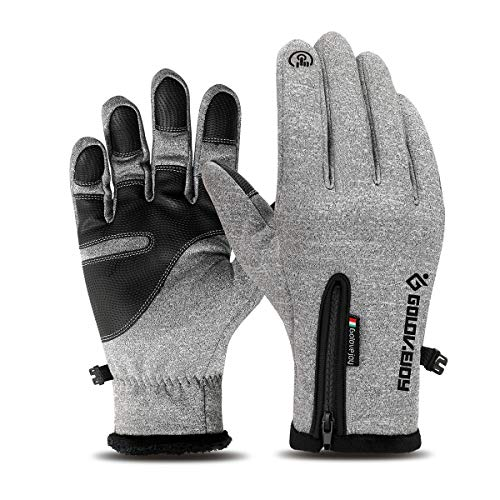 LATEC Fahrradhandschuhe, Touchscreen-Handschuhe Wasserdicht & Winddicht Wärmehandschuhe rutschfest Warme Winterhandschuhe Outdoor Laufen Klettern Skifahren Handschuhe für Damen und Herren (Grau-L)