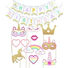 Simuer Rainbow - Bandeja de felicitación de cumpleaños con diseño de unicornio (10 piezas,