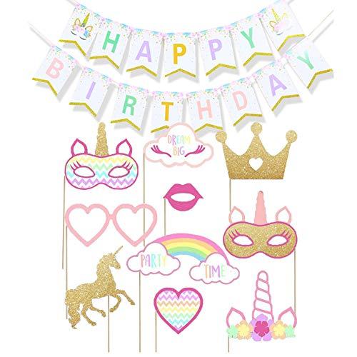 Simuer Einhorn Fotorequisiten Happy Birthday Girlanden Regenbogen Einhorn Banner Bunting für Kinder Mädchen Geburtstag Einhorn Themen Party Deco