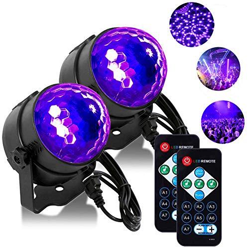 UV Discokugel, LED Lichteffekte Beleuchtung Lunsy Disco Licht Partylicht mit Fernbedienung und Soundkontrolle 3W Bühnenlicht für Dekoration/Weihnachten/Party und mehr【2 Stück】