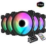 EZDIY-FAB Ventola da 120mm RGB LED Case per PC,Ventola di Raffreddamento della CPU, Ventola di Raffreddamento ad Acqua, Ventola RGB Indirizzabile per Case con Controller-5 Pack