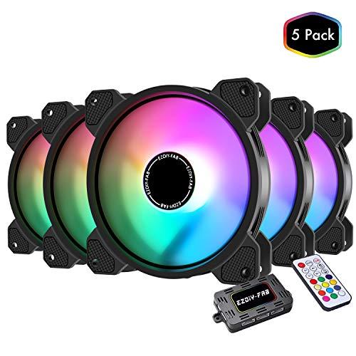 EZDIY-FAB 120mm RGB Gehäuselüfter für PC Gehäuse, CPU Lüfter, Wasserkühlung, Adressierbare RGB Gehäuselüfter mit Controller-5 Pack