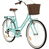 Galano 26 Zoll Cityrad Belgravia 6 Gang Damenfahrrad Mädchenrad Citybike mit Korb, Rahmengrösse:18 Zoll, Farbe:hellblau