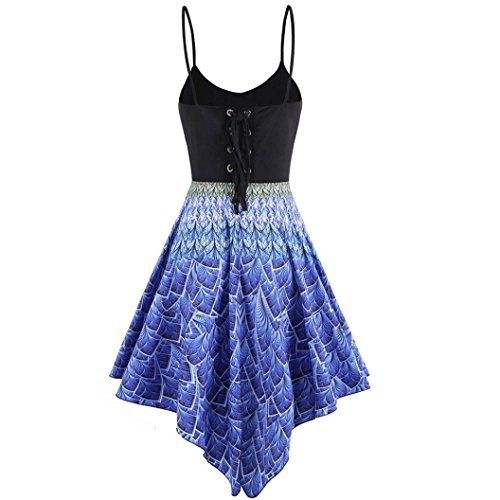 Kleid-FRIENDGG, Frau Damen Bandage High-Low Saum bedrucktes Minikleid Unregelmäßige Anhänger Splice Sling Kleid (XL) (Woven Sleeveless Pullover)