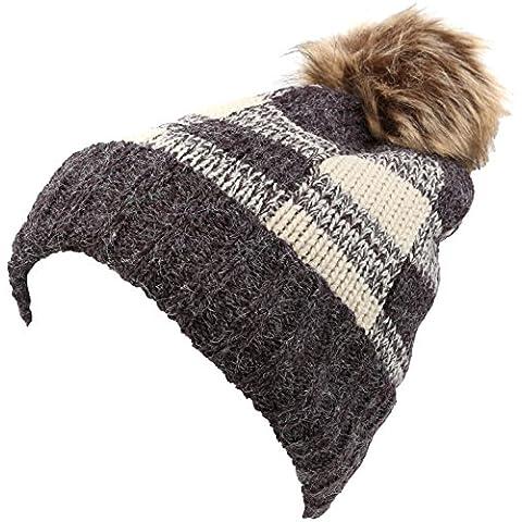 Sakkas Baya patrón largo Tall Comprobador pliega la piel de imitación de Pom Pom Beanie sombrero