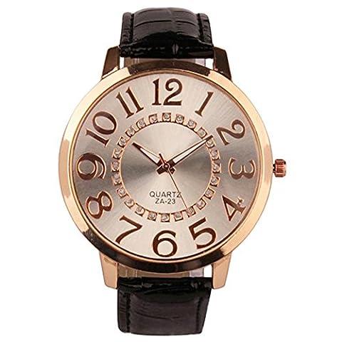 Sanwood Unisex Big Numerals Rhinestone Faux Leather Wrist Watch (Black)