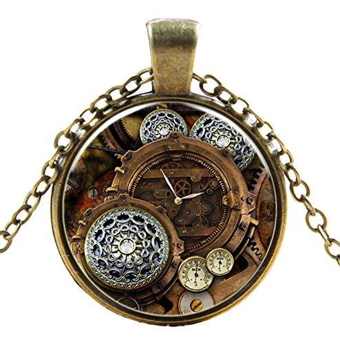 Ultra ® Watch Zahnräder Stil 2 klassische Unisex Steampunk Halskette Great Style Unisex Gothic Cosplay Vintage Cyber Männer Frauen Schmuck Cosplay Schädel Zahnräder Designs