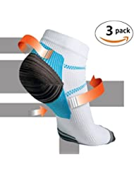 Kroo 3paires fasciite plantaire Chaussettes de compression de pied Course Bobby Chaussettes Gym Homme Femme Sports randonnée entraînement fitness exercices Chaussettes Bleu et blanc, L/XL