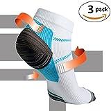 Kroo Plantar Fasciitis Compression Fußsocken Lauf Bobby socken Gym Männer Frauen Sport Wandern Workout Fitness Übungen Socken (L / XL, Blau und Weiß, 3 Paar)