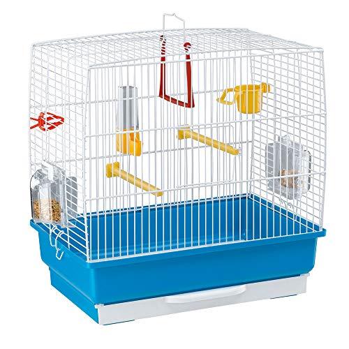 Ferplast gabbia rettangolare rekord 2 per uccellini, completa di accessori e mangiatoie girevoli, robusto metallo verniciato bianco e fondo in plastica azzurro, 39 x 25 x 41 cm
