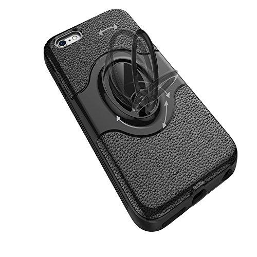 """iPhone 6 / 6S Ring Stand Coque, SHANGRUN TPU Gel Silicone Métal Rotation Intégrée Bague de Serrage Support Case Coque avec Béquille Housse Étui pour iPhone 6 / 6S 4.7"""" Blanc Azur"""