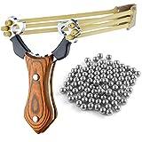 Sports Funshop Set Profi Steinschleuder aus Stahl und mit Holz-Griff und Gummiband + 100 Stahlkugeln Munition (Bild: Amazon.de)
