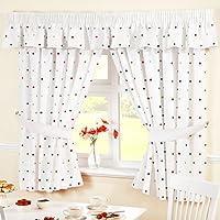 Just Contempo lunares cortinas de cocina, rojo,, tela, Rojo, 46 x 54 Inches