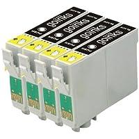 4 Compatibile Nero Cartuccia stampante per sostituire T0441 per l'uso in Epson Stylus C64, C64 Photo Edition, C66, C68, C84, C84 Photo Edition, C84N, C84WN, C86, C86 Photo Edition, CX3600, CX3650, CX4600, CX6400, CX6600