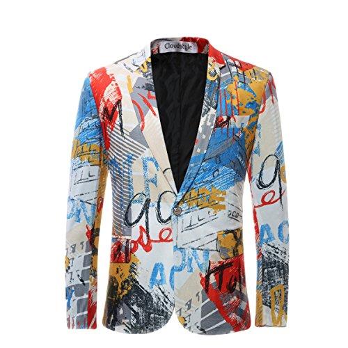 Cloudstyle Slim Fit Herren bunter Sakko Muster Casual Blazer Kostüm Party