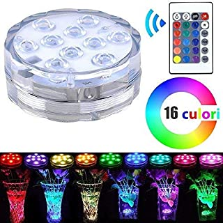 Albacom LED Submersible Light with color changing function and remote control, Multi Color Changing Waterproof Battery Powered Mood Night