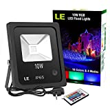 LE 10W RGB LED Flood Lights,Remote Control,Colour Changing LED Security Light, 16 Colours & 4 Modes,Dimmable,Waterproof LED Floodlight, UK 3-Plug, Wall Washer Light,For Christmas