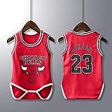 Chicago Bulls #23 Michael Jordan Jersey Basketball Uniform Trikot Baby Strampler Kleinkind Spielanzug Neugeborenes Kleidung Atmungsaktiv Basketball Weste Komfortable, Schnelltrocknend