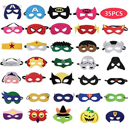 VGoodall Superheld Masken, 35 Stück Superheld Party Masken Kinder Cosplay Masken für Geburtstag, Halloween, Cosplay (Ein Stück Superhelden Kostüm)