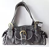 Carrot Shoulder Bag small Handbag with double handle detailing and top zip fastening BLACK