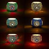 Set di 6 lanterne a mosaico orientali Ajan alte 9 cm colorate | Porta lumini in vetro orientale| Lanterne di vetro marocchino da usare come decorazione | 6 pezzi