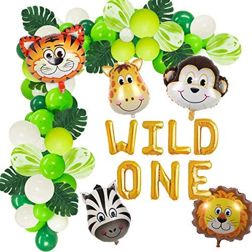 JOYMEMO Wild One Geburtstag Dekorationen Luftballons Garland Arch Kits Jungle Animal ersten Geburtstag Party Supplies