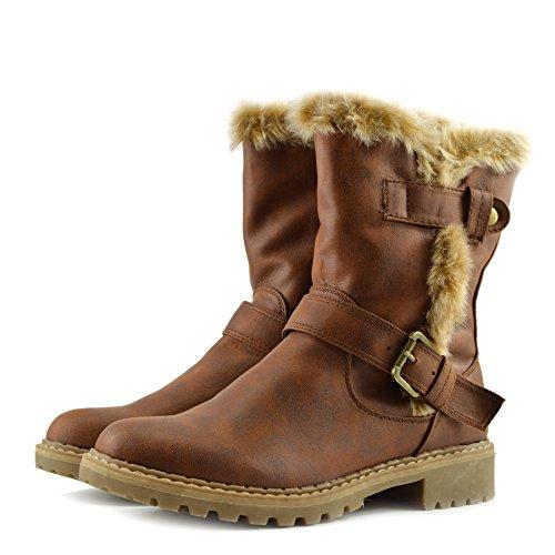 Kick Footwear - Donna Glitter Ankle boot Lace up front comodo tacco,stivali donna scarpe Marrone