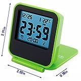 Ocamo Foldable Alarm Clock Mini Portable Travel Clamshell Electronic Night Lamp LED Digital Desk Alarm Clock Muti Clock with Thermometer Calendar Snooze Function Orange