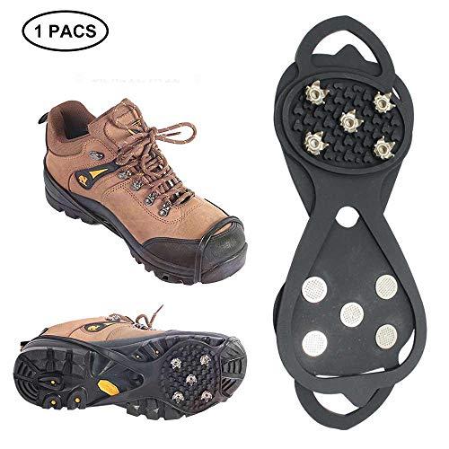 leegoal Anti-Rutsch-Schuhe Ice Gripper, 1 Paar Universal 5 Zähne EIS-Schneeschuhe Grips Walking Traktion Klötze Winter Walker Traktion Gerät für Schuhe Wandern, Joggen, Wandern auf Schnee und EIS, XL -