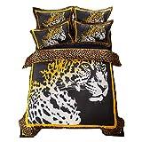 Leopard/Tiger Avatar 3D 4-teiliges Bett aus Baumwolle Bettwäsche-Sets Karierter Streifen Bettlaken Einfacher Stil Erwachsenes Kind (Leopard, 200 * 230cm)