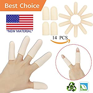 Gel Finger Cots, Finger Protector Support(14 PCS) *NEW MATERIAL* Finger Gloves, Finger Sleeves Great for Trigger Finger, Hand Eczema, Finger Cracking, Finger Arthritis and More.(Nude)