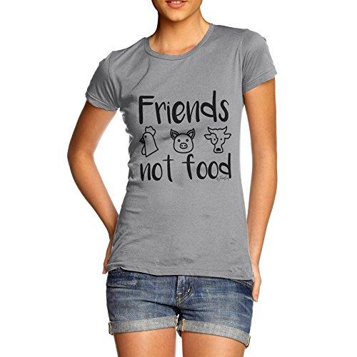 """Twisted Envy Damen-T-Shirt mit englischsprachiger Aufschrift """"Friends, not food"""", lustiges Motiv, 100% Baumwolle, Rundhalsausschnitt, bequemes und weiches, klassisches T-Shirt mit einzigartigem Design Gr. XL, hellgrau"""