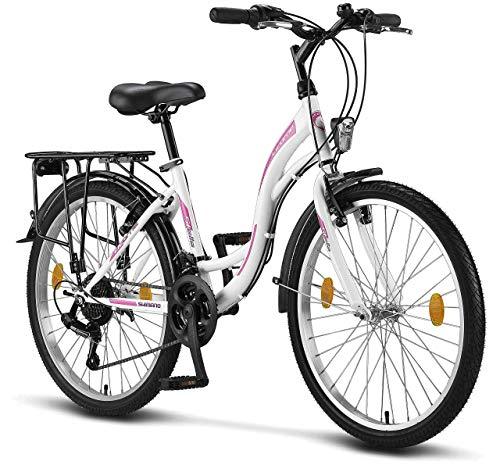 Licorne Bike Stella (Weiss) 24 Zoll Kinderfahrrad, CTB ab 135 cm, Fahrrad-Licht, Shimano 21 Gang-Schaltung, Damen-Citybike, Mädchen-Citybike, Mädchenfahrrad, geignet für 8,9,10,11, Mädchen, Fahrrad