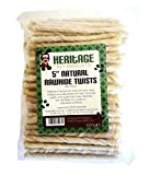 Heritage Pet Products 7-8mm Natural Rawhide Twists Sticks Dog Chews 5