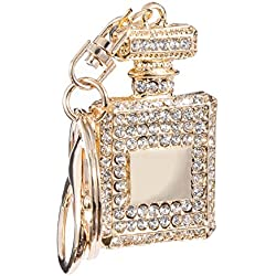 Big Metallic Perfume Bottle Shaped White Crystal Design Keychain Premium Quality Limited Edition Crystal Keyring Embrace Your Keys With Attractive Key Chain| Key Ring | Keyholder For Bike | Car | Scooty | Bag | Purse | Gifting And Personal Use By Jewel And You