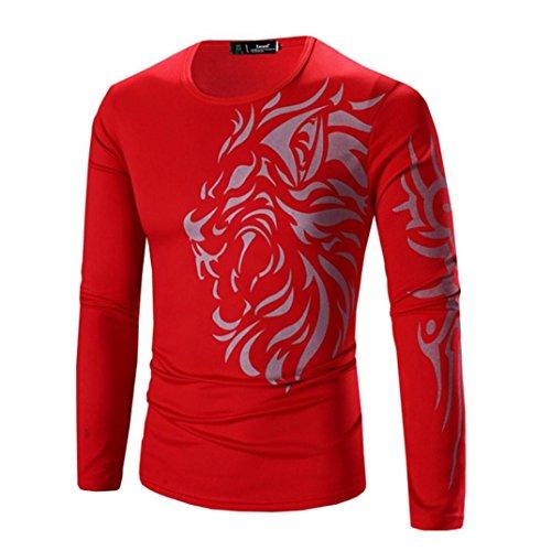 Ularma Herren Langarmshirt Slim Fit Tee mit Aufdruck Rundhals T-Shirt Rot