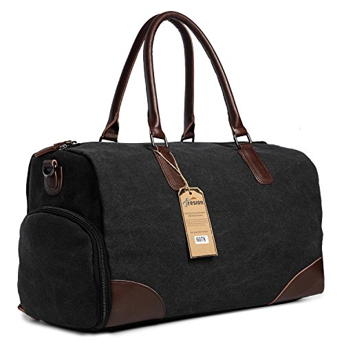 Travel Flight Bag for Men Women, Leather Canvas Holdall Tote Bags with Laptop Compartment, Overnight Duffle Shoulder Bag Handbags by Fresion (Black)