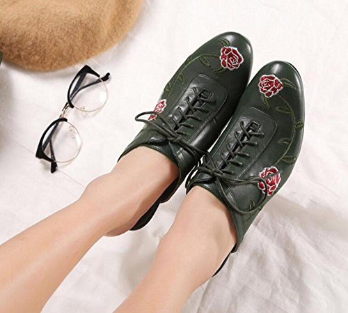 GLTER Le donne a basso sandali tacco Ballerine scarpe di vacchetta Baotou Mezza Pantofole nazionali del vento ricamo fiori Belle alta pizzo scarpe scarpe di cuoio casuali dello slip-on pantofole scuro Dark Green