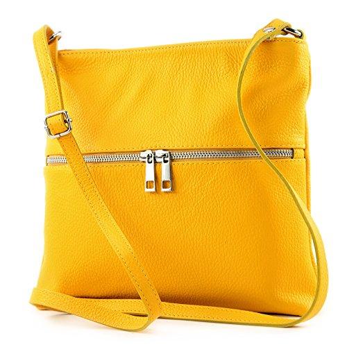 modamoda de -. Sac en cuir ital sac à bandoulière croisé dames sac de messager en cuir T144 Gelb