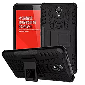 Wellmart Hybrid Defender Military Grade Armor Kick Stand Back Case Cover for Xiaomi Redmi Note (Black)