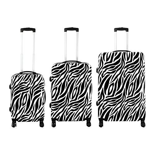 Polycarbonat-Kofferset 3tlg Zebra Größe S+M+L-Weiß