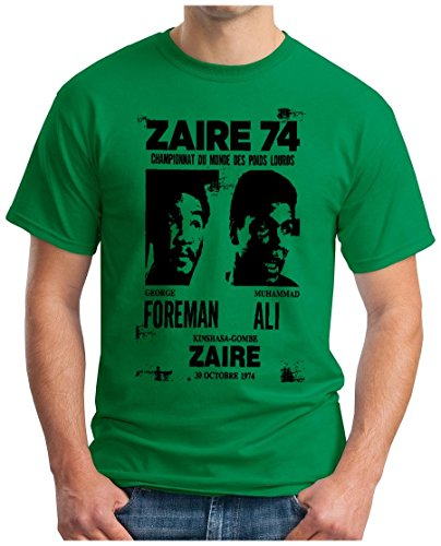 OM3 - ZAIRE74-FOREMAN-vs-ALI - T-Shirt - Rumble In The Jungle Afrika Africa Heavyweight Boxing Fight Champion, S - 5XL Grün