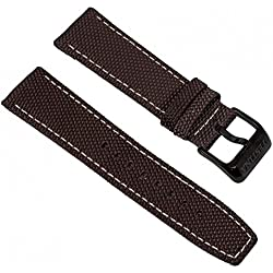 Festina Replacement Watch Strap Leather/Textile Band with Bright Contrast Stitching 24 mm for all models F16584, Color: Dark Brown