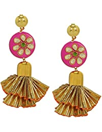 AccessHer Gold Plated Kundan And Gota Frill Style Tassle For Women And Girls