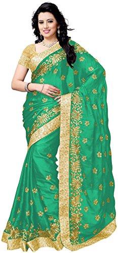 JULEE Women's Satin Embroidered Designer Saree (Free Size_Green)