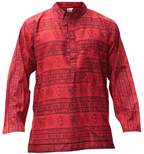 Shopoholic Mode Herren Om Aufdruck Hippie Großvater Shirt Rot