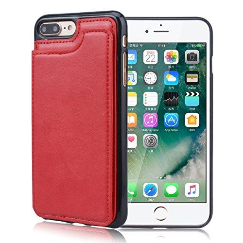 Cover per iPhone 7, VemMore Custodia Supporto Slot della Carta di Credito Case in Pelle Morbido PU & Durevole PC Portafoglio Caso di Inserto Card Nascosto Ultra Sottile Snap Professionale sul Copertur Rosso