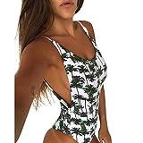OHQ Maillot De Bain Une PièCe Imprimé Ananas Femme Blanc Bikini Maillots pour Femmes Push Up Rembourre Taille Haute Bandeau (Sexy Blanc, L)