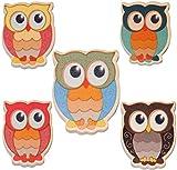 Unbekannt 3 Stück _ Magnete / Holzmagnete - lustige Bunte Eule - sehr stabil aus lackiertem Holz - für Kinder & Erwachsene - Magnet - z.B. für Kinderzimmer Kühlschr..